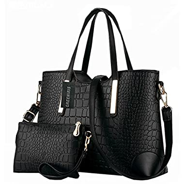 Greeniris Ladies PU Leather Shoulder Bags Totes Handbags with Matching Wallet Purse 2 Pieces Set