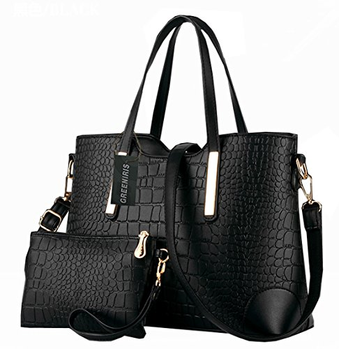 - 519XhrElQiL - Greeniris Ladies PU Leather Shoulder Bags Totes Handbags with Matching Wallet Purse 2 Pieces Set