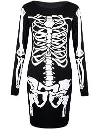 Flirty Wardrobe Robe moulante imprimé Squelette Halloween Body (S/M (36–38), robe Bodycon)