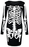 Fast Fashion Damen Kleiden Skeletts Druck (EUR (40-42), Bodycon Kleid)