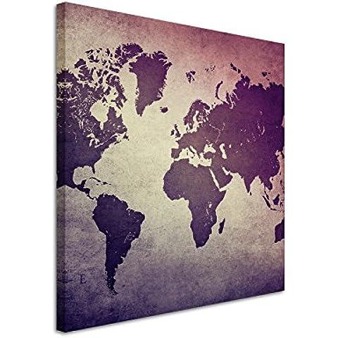 60x 60cm–cuadro de foto lienzo en mauve Antiguo Mapa del Mundo