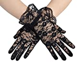 Westeng Gloves Ladies Simplicity Lace Mittens Short Wedding Dress Gloves Sunscreen Summer Driving Floral Printing Gloves Wrist Length Black, 1Pair