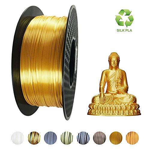 KEHUASHINA Filamento PLA stampante 3D, 1,75 mm, materiale di stampa 3D, 2,2 LBS (1 KG) Filamento 3D a spirale per stampanti 3D, PLA oro SILK, Pla d\'oro serico, Filamento d\'oro serico, seta dorata