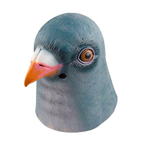 Taube Maske Kostüm (Grün Taube Maskerade Maske aus Latex für Männer Frauen)
