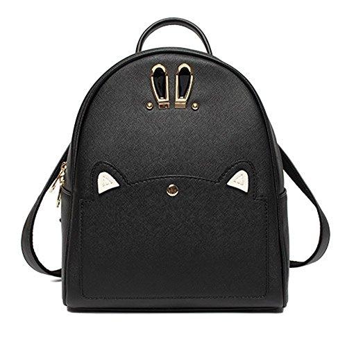 Trendy Lavendel Rucksack Handtasche PU Leder Rucksäcke Reise Schule Taschen Süß Kaninchen Ohr Daypacks für Mädchen Schwarzer Rucksack