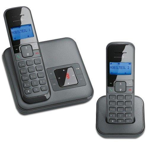 Telekom Sinus CA 34 Duo DECT Identificador de llamadas Negro - Teléfono (Teléfono DECT, Altavoz, 50 entradas, Identificador de llamadas, Servicios de mensajes cortos (SMS), Negro)