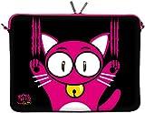 Kitty to Go LS140-15 Designer Laptoptasche 15,6 Zoll (39,1 cm) aus Neopren Laptop-Schutzhülle Sleeve Tasche Hülle Cover Case Bag Katze schwarz-pink