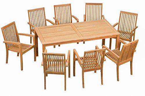 """Set ! Stilvoller Teak Tisch ' London ' und 8 stapelbare Sessel """" Seaside """"  Wetterfest  Nachhaltiges Plantagenholz  Klassisch geformte Balkon-Gruppe, Sitzgruppe aus Holz"""