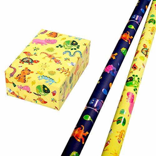 Geschenkpapier Kinder Set 2 Rollen, Motiv Krümel bunte Monster-Motive leuchten aus dem matten Fond glänzend heraus + Motiv Fantasia bunt glänzende Tiere auf gelbem Mattfond. Für Kinder, Geburtstag (Geburtstag, Verpackung, Papier)
