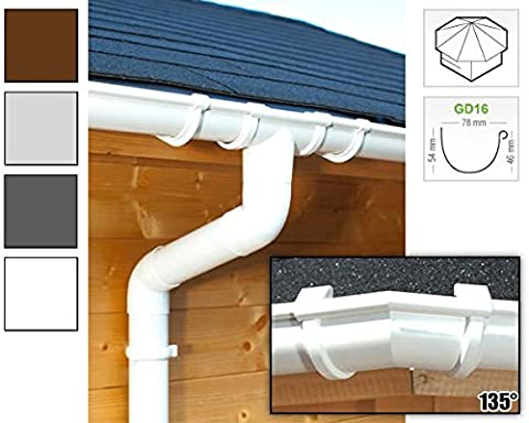 Plastic guttering kit for octagonal roof (8 roofsides)   GD16   in 4 colours! (All-in-one kit up to 19,25 m,