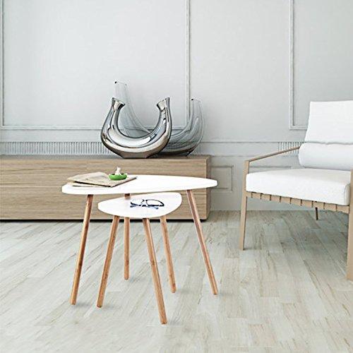 HOMFA Tavolino Divano di Caffè in MDF Bianco, Set di 2 Tavolini Bassi da Salotto in Legno di Disegno Elegante