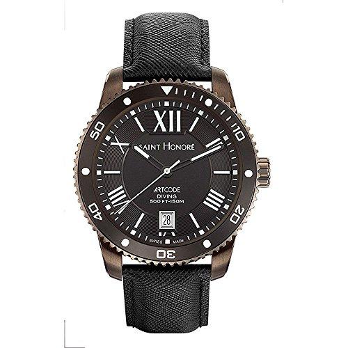 In Switzerland Honoré Saphirglas Für Lederarmband 8610717nrbn Schweizer Armbanduhr Quarzuhr Made Herren Saint Schwarz OiuTZkXP