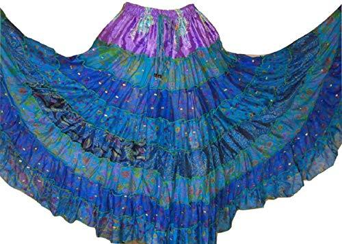 Tiered 9 Yard Tribal Gypsy Maxi Tiered Rock Bauchtanz-Röcke Seidenmischung Folk-Rock für S M L (J122) -