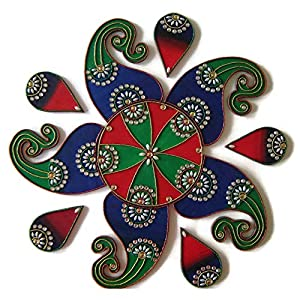 Christmas Ornaments Decorations Wooden Rangoli – Handmade 11 Piece Multi Design Home Decoration