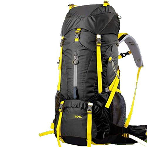 Outdoor Profi Klettern 60 + 5 L Camping Multifunktions Wasserdichter Rucksack,Green Black