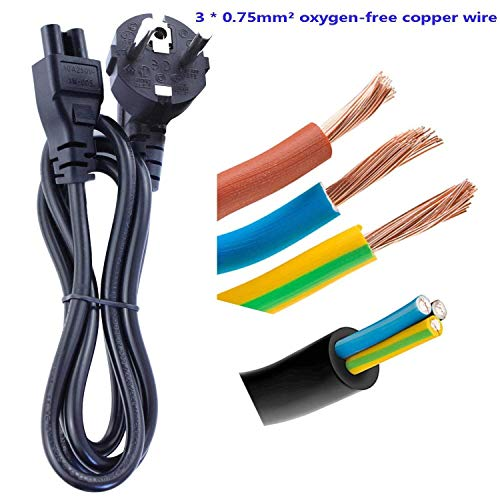 DTK 1.2M Power Kabel Portable Clover Netzkabel für Laptop für HP Ladegerät Dell ASUS ACER Sony Lenovo Samsung Mit Power CEE7 3 Wege nach C5 Buchse