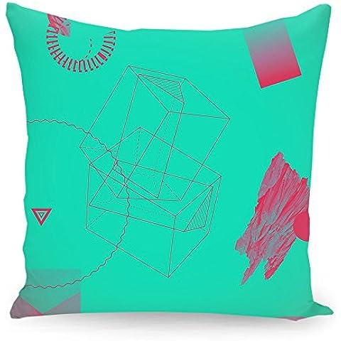 """Cuscino 50x50 cm Geometria illustrazione pastello """"Oggetti 11"""" türkis - Cuscino - stampato fronte e retro - Cuscini """"Geometria illustrazione pastello"""" di """"Andreas Jarner"""""""