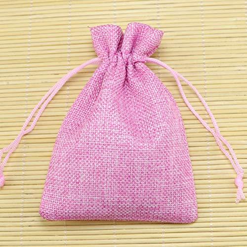 SMHILY 10 Teile/los 10 * 14 cm Rosa Jute Taschen Kordelzug Geschenk Tasche Weihrauch Lagerung Leinen Taschen Hochzeit Gefälligkeiten Süßigkeiten Schmuck Verpackung Taschen (Süßigkeiten Für Gefälligkeiten)