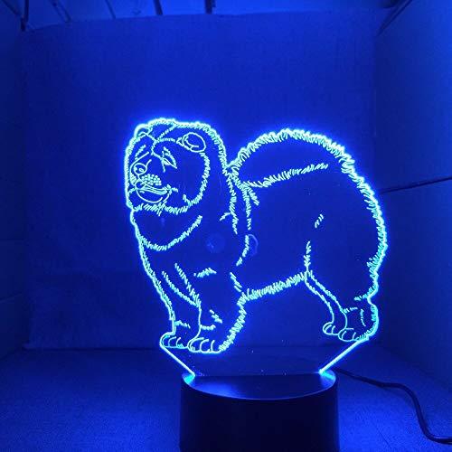 Chow Chow New Hund Lampe 3D Nachtlicht Kind Spielzeug LED 3D Touch Tischlampe 7 Farben Blinkende LED Licht Weihnachtsschmuck für Zuhause (Palme-touch-lampe)