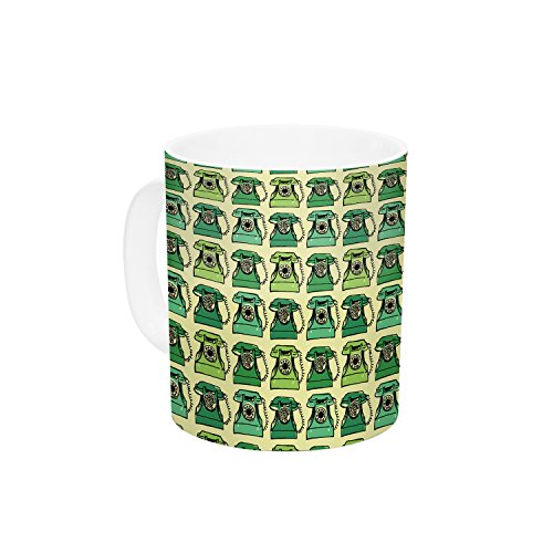 kess-inhouse-holly-helgeson-vintage-telephone-green-pattern-ceramic-coffee-mug-11-oz-multicolor-by-k
