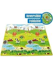 Sampri Play mat Baby mats Waterproof Large Size Double Side Big Soft (6 Feet X 5 Feet) Crawl Floor Matt for Kids Picnic School Home with Zip Bag to Carry