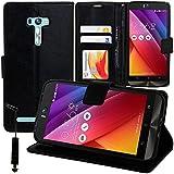 VCOMP Housse Coque Etui Portefeuille Support Video Livre Rabat Cuir PU pour ASUS Zenfone Selfie ZD551KL + Mini Stylet - Noir