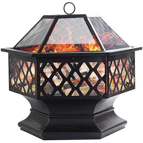 D4P Display4top Feuerschale Feuerkorb Terassenofen für den Außenbereich Schwere Stahl-Hex-Form-Feuerstelle-Kamin-Außenhaus-Garten-Hinterhof-Feuerstelle