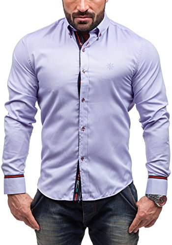 BOLF Herren Langarm Herrenhemd Figurbetont Freizeit Slim Casual 5801 Violett