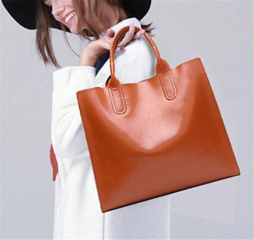 Xinmaoyuan Borse donna borsette in cuoio Big Bag semplice Borsetta tracolla bovini Messenger Tote Bag,Nero Brown
