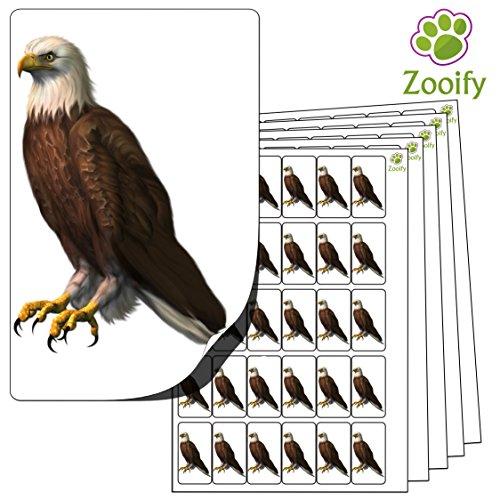 480 x Aufkleber - Adler (38 x 21 mm). Hochwertige selbstklebende Etiketten mit Tiermotiv von Zooify. (Adler-stempel)