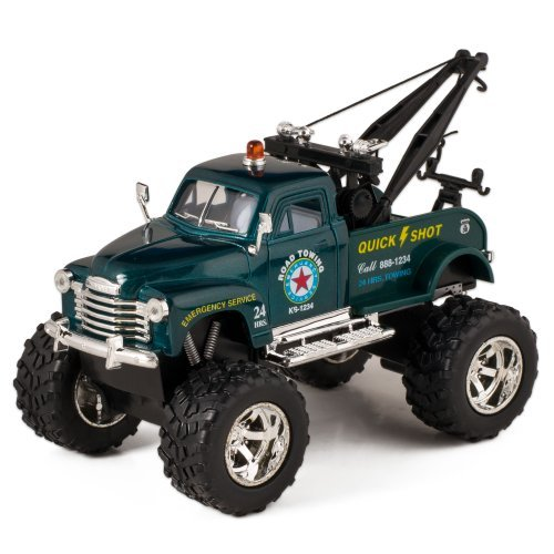 Green 1953 Chevy Off-Road Wrecker Die Cast Tow Truck Toy with Monster Wheels by Kinsmart - Tow Diecast Truck