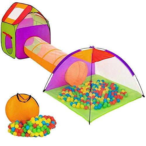 Vetrineinrete® Tenda per bambini con 200 palline colorate pieghevole POP-UP igloo tunnel casetta Grande come da un parco gioco si monta in pochi istanti F50