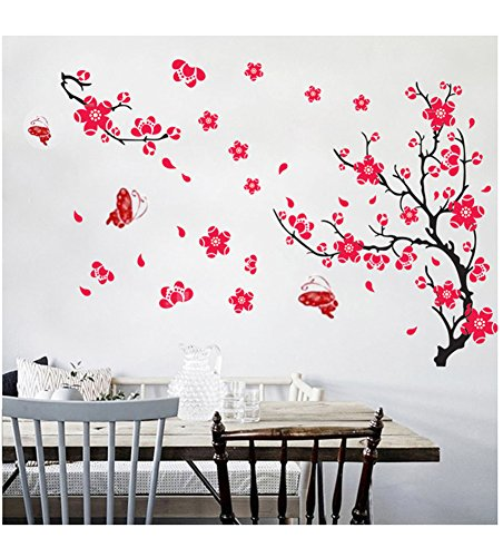 DDLBiz Hermosa Vinilos decorativos para pared (Flor de Ciruela Roja)