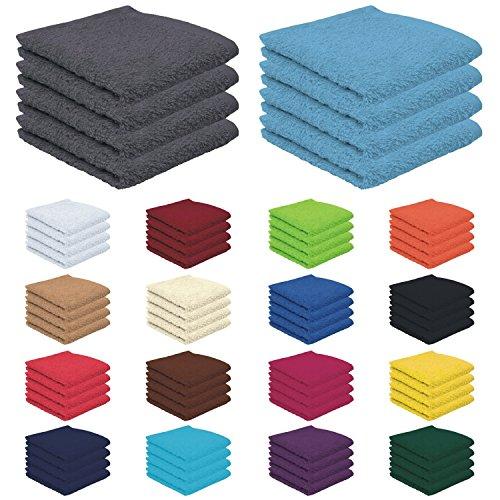 4er Pack zum Sparpreis, Frottierserie in 18 Farben und 8 Größen, 100% Baumwolle 500 g/m² - 4er Pack Seiftücher (30x30 cm) - Farbe Weiss