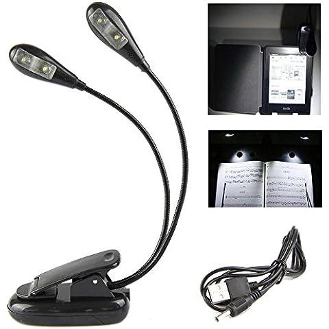 Ganvol Luz de lectura móvil con la iluminación LED y el clip, 2 lámparas, lámpara de pinza LED, para Notenstaender, músicos, dispositivo electrónico de lectura, los libros, la reparación de la lámpara