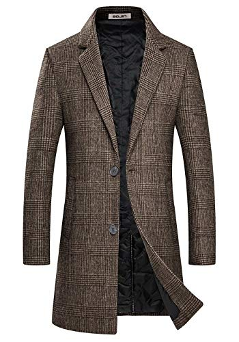 BOJIN Coat 1966 1967 - Abrigo de Invierno para Hombre, Corte Ajustado, Largo y cálido marrón S