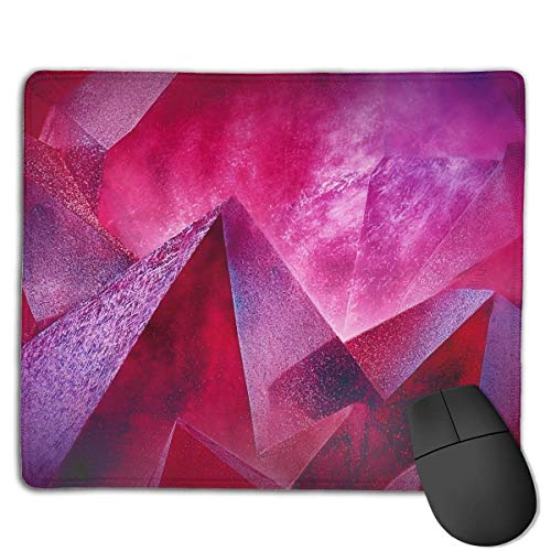 Mouse Pad Geometry 3D Mountain Art Rectangle Rubber Mousepad 8.66 X 7.09 Inch Gaming Mouse Pad with Black Lock Edge