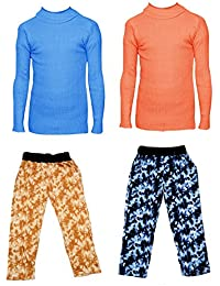 IndiStar Boys Combo Pack For Winter(Pack of 2 Printed Lower and 2 Wollen Full Sleeves T-Shirt/Inner/Skivvy )_Sky Blue::Orange::Multicolor_3-4 Years_360181910110-0708-IW-P4-24