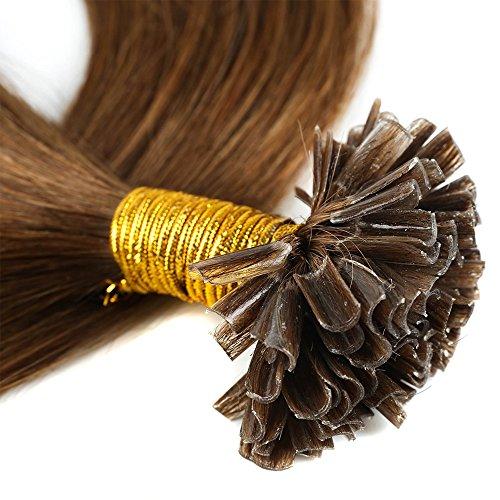 45-55cm extension capelli veri cheratina naturali indiani 200 ciocche 100g remy human hair u tip pre bonded hair extensions (50cm #6 castano)