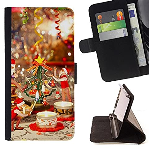ICE CASE - FOR Motorola Moto E 2nd Generation - Candles Table Cup - Painting Art Smile Face Style Design PU Leather Flip Stand Case Cover