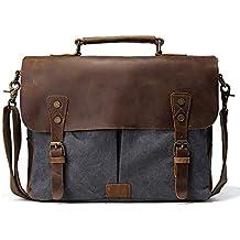 Tiding Hombres de lona bolsas de bolsa de viaje de piel bolso crossbody bolsa para Escuela