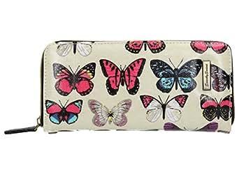 Roche Detail Butterfly Print Wallet in Beige