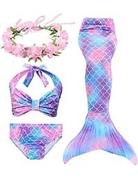 Hifunbay Cola de Sirena Niña para Nadar Incluido Traje de Sirena Baño de Bikini de 3 Piezas y Diadema con Guirnaldas de Flores sin monoaleta
