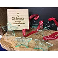 Personalised Set Of Family Christmas Star Baubles & Engraved Christmas Box