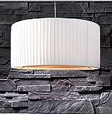 lounge-zone Hängelampe VISBY Hängeleuchte Pendellampe Pendelleuchte Lampe höhenverstellbar Leuchte Latextuch Plissee weiss Ø 55cm #863