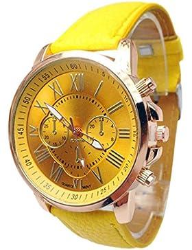 Xjp Damenuhren Römische Ziffern Analog Quartz Armbanduhr Lederarmband Gelb