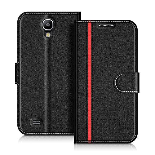 COODIO Handyhülle für Samsung Galaxy S4 Handy Hülle, Samsung Galaxy S4 Hülle Leder Handytasche für Samsung Galaxy S4 Klapphülle Tasche, Schwarz/Rot
