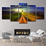 SUNSUNNY Canvas Prints, Wall Art Prints on Canvas Sky Printing Picture Modern Split 5 Pieces HD Artwork for Living Room Bedroom Home Office Decorations (Frameless),L