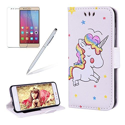 Custodia per Huawei P10 Cover Unicorno Libro Pelle PU Portafoglio - Girlyard Flip Wallet Leather e TPU Silicone Case Morbido Chiusura Magnetica di ...
