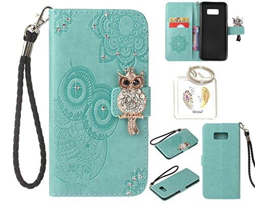 Preisvergleich Produktbild für Samsung Galaxy S8+ S8 Plus PU Diamant Strass Niedlich Eule Leder Silikon Schutzhülle Handy case Book Style Portemonnaie Design für Samsung GalaxyS8+ S8 Plus + Schlüsselanhänger ( NHY6 (2)